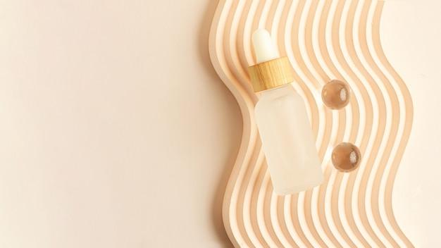 Frasco de cosméticos com embalagem de resíduos de conta-gotas com tampa de madeira grande banner