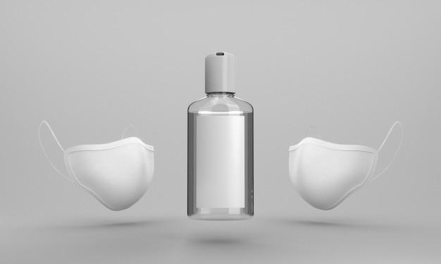 Frasco de desinfetante para as mãos e máscara facial