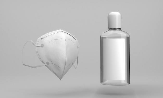 Frasco de desinfetante para as mãos e máscara médica