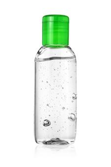 Frasco de desinfetante para as mãos ou gel anti-séptico isolado no branco