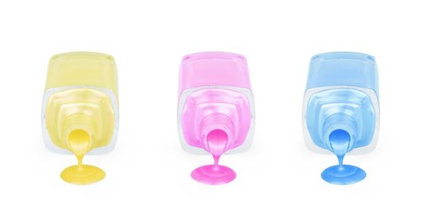 Frasco de diferentes vernizes de esmalte com amostras de gotas de esmalte isoladas