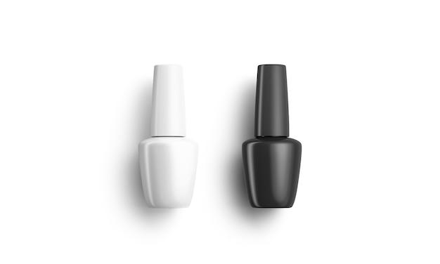 Frasco de esmalte preto e branco fosco em branco deitado, renderização em 3d. polidor de verniz vazio, vista superior. frasco transparente com material de correção para manicure.