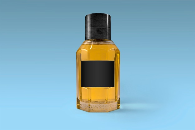 Frasco de fragrância com etiqueta preta