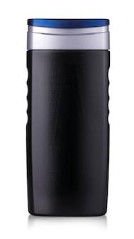 Frasco de gel de banho preto isolado no fundo branco