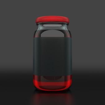Frasco de geléia preto de rótulo vazio em fundo escuro. conceito de anúncio. simulação, renderização em 3d