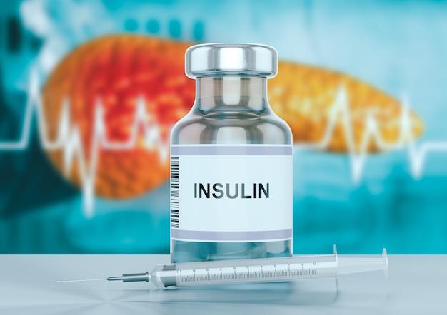 Frasco de insulina e uma seringa na bancada do hospital com o pâncreas ao fundo.