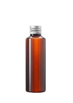 Frasco de medicamento ou cosmético de vidro marrom ou plástico com tampa branca isolado no fundo branco
