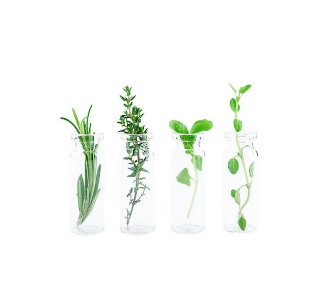 Frasco de óleo essencial com ervas isoladas no fundo branco. foto de alta qualidade