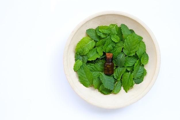 Frasco de óleo essencial com folhas de hortelã fresca. copie o espaço