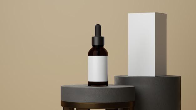 Frasco de óleo essencial de vidro marrom com conta-gotas para cuidados com a pele e embalagem branca com fundo bege