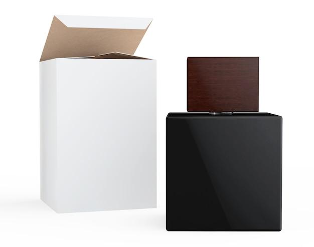 Frasco de perfume preto e caixa de embalagem em um fundo branco
