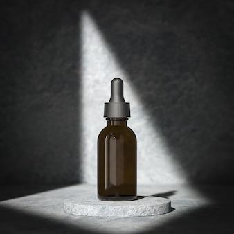 Frasco de pipeta cosmética conta-gotas no pacote de maquete de fundo mínimo Foto Premium