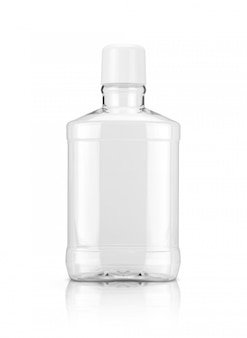 Frasco de plástico transparente de bochechos isolado