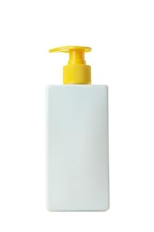 Frasco de protetor solar isolado em fundo branco isolado