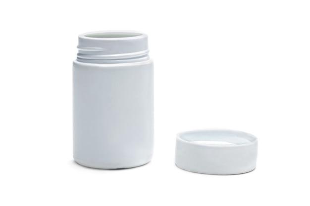 Frasco de remédio branco em um fundo branco