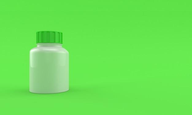 Frasco de remédios em fundo verde brilhante