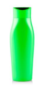 Frasco de shampoo verde. isolado em fundo branco