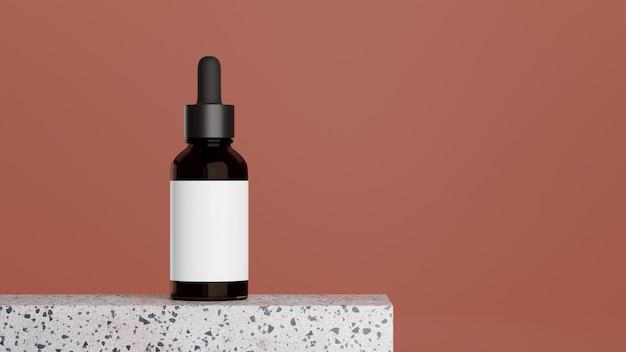 Frasco de soro de vidro marrom no pódio de mármore com fundo rosa cópia espaço modelo de frasco para cuidados com a pele
