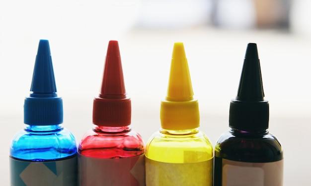 Frasco de tinta cmyk para máquina de impressora conjunto de recarga de tinta colorida com ciano azul vermelho magenta amarelo e preto para tanque de tintas de impressora