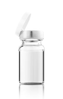 Frasco de vacina aberto para mock-up de design de rótulo isolado no fundo branco com traçado de recorte