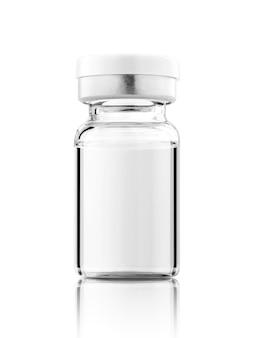 Frasco de vacina para maquete de design de rótulo isolado no fundo branco com traçado de recorte