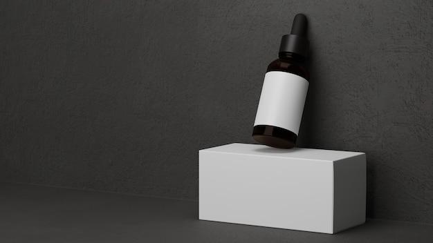 Frasco de vidro âmbar escuro cosmético conta-gotas para homens com fundo cinza escuro essencial para homens