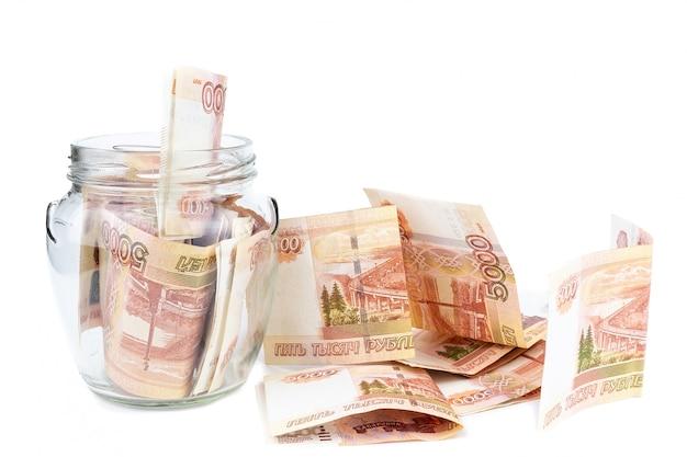 Frasco de vidro com dinheiro