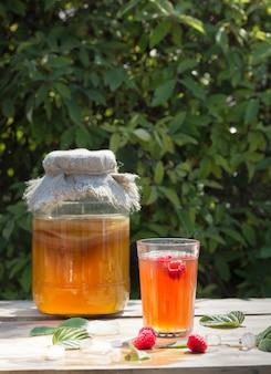Frasco de vidro com kombucha, copo derramado com kombucha e framboesas e gelo, no jardim de verão.