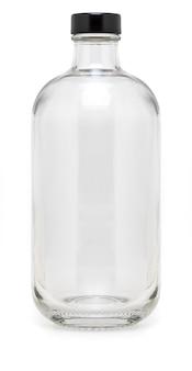 Frasco de vidro com tampa metálica de 500 ml. sem etiqueta e isolado no fundo branco.