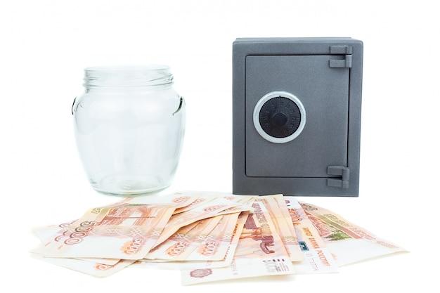 Frasco de vidro dinheiro seguro
