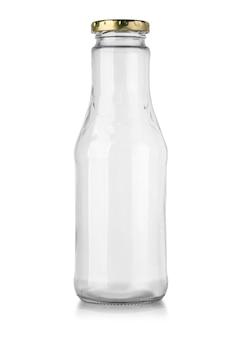 Frasco de vidro isolado no branco com traçado de recorte