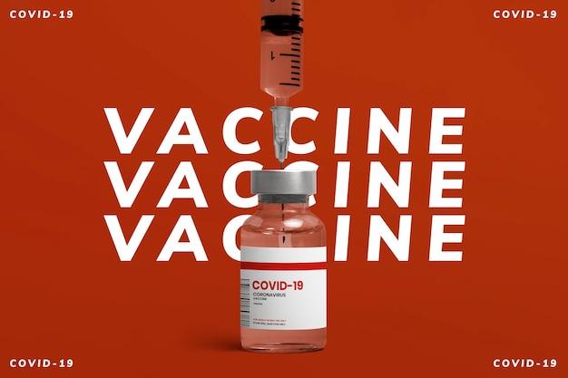 Frasco de vidro para injeção de vacina covid-19 com seringa