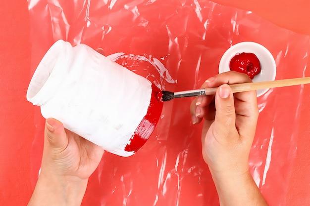 Frasco de vidro, tinta acrílica, brilho, cor de fita bandeira americana vermelho azul branco