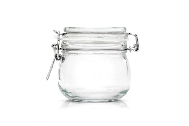 Frasco de vidro transparente para utensílios de cozinha isolado
