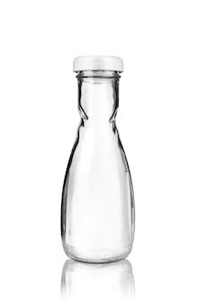 Frasco de vidro vazio isolado no branco