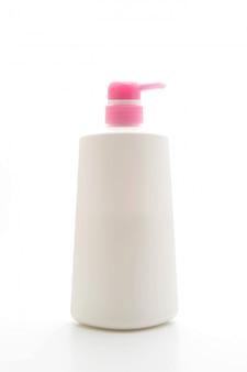 Frasco de xampu, isolado no branco