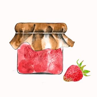 Frasco desenhado à mão com geleia de morango