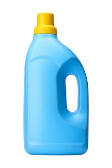 Frasco detergente isolado na parede branca. produto de limpeza.