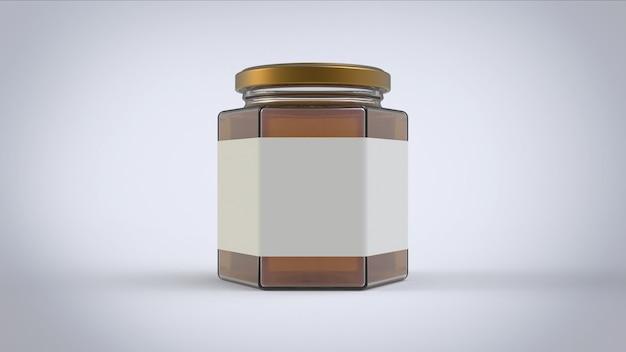 Frasco grande honney com etiqueta branca retangular
