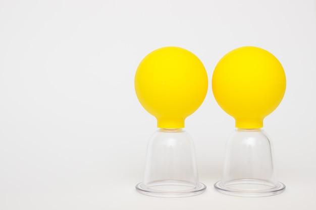 Frascos a vácuo amarelos para massagem contra celulite