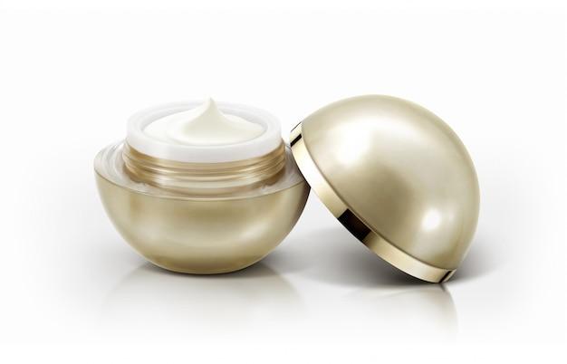 Frascos cosméticos de esfera dourada