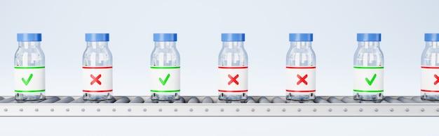 Frascos de medicamentos na esteira transportadora, conceito de verificação de qualidade
