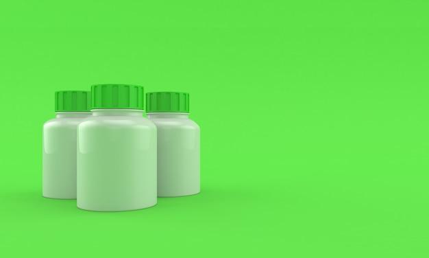 Frascos de remédios em fundo verde brilhante