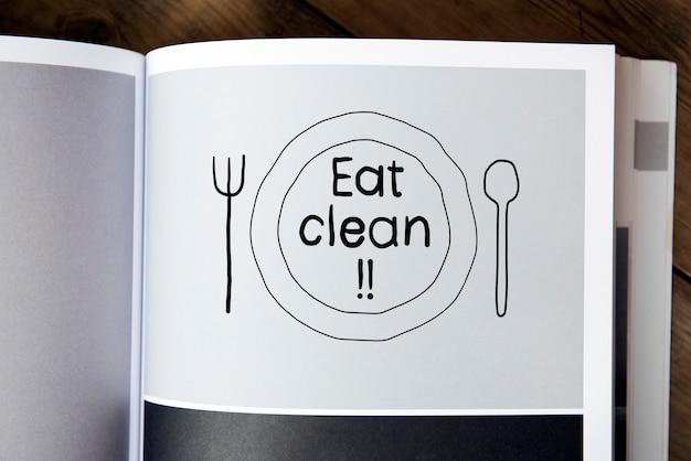 Frase comer limpo em uma revista