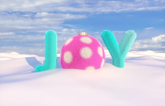 Frase de alegria com textura fofa na cena de inverno.