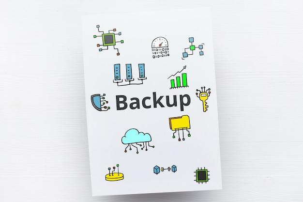 Frase de backup ou arquivo e recuperação de conceito para carteira criptografada com ícones abstratos.