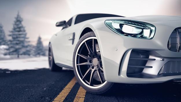 Frente da cena do carro esporte, as turbinas de rua automotivas renderizam em 3d e ilustração