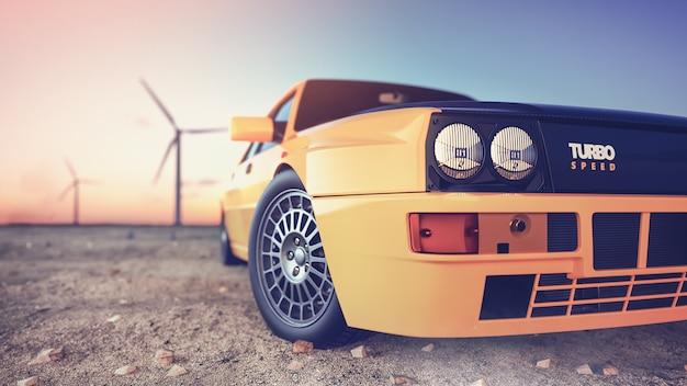 Frente da cena do carro esporte atrás do sol se pondo com renderização 3d e ilustração de turbinas eólicas