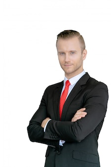 Frente de empresário europeu inteligente de retrato do trabalho em equipe durante a conferência no escritório da empresa