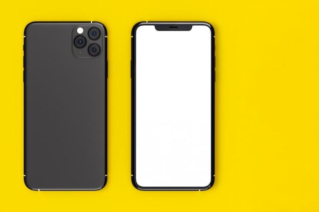 Frente e verso smartphone moderno com tela branca.